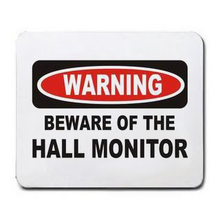 "Horse Riding Rules: A sign that says ""Warning: Beware of the Hall Monitor"""